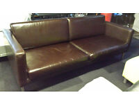 Ex-display brown leather large quality 2 seater