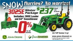 3025E John Deere Tractor, Loader, Snow Blower Winter Package