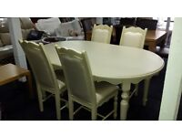Ex-display cream table & 4 chairs