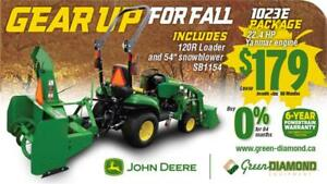 1023E COMPACT TRACTOR, LOADER, SNOW BLOWER PACKAGE
