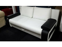 Ex-display leather White/black pull out drop down 5ft kingsize sofabed