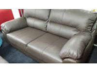 New clearance quality leather brown 3 seater