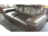 Ex-display modern style brown leather 3+3 seater set