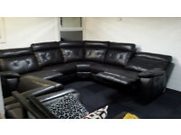 Ex-display SCS extra large modern brown endurance leather corner sofa with 2 recliners