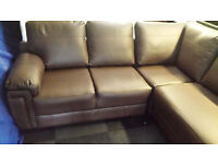 NEW CLEARANCE brown 3 section corner sofa