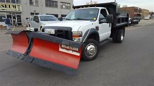 2009 Ford Super Duty F-550 DRW 4X4 DIESEL DUMP BOX SNOW PLOW