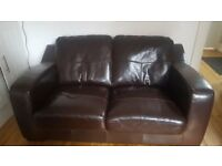 Free!! Brown Leather 2-Seater Sofa