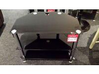 Ex-display black glass 3 tier glass TV stand