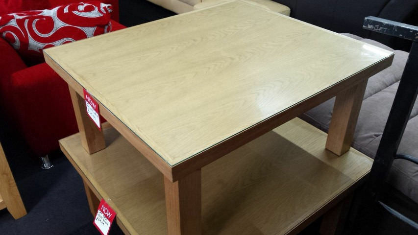Large oak coffee table with glass sheet