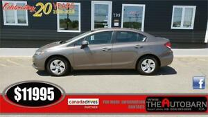 2013 HONDA CIVIC LX SEDAN - 5 SPEED, CRUISE, BLUETOOTH, ONLY 45K