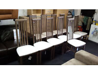 New Clearance Walnut/fabric high back dining chairs (PRICES IN DESCRIPTION)