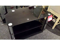 3 tier black glass chrome legs tv stand