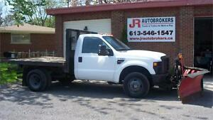 2008 Ford Super Duty F-350 DRW 4X4 Diesel Flat Bed With V Plow