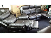 Ex-display modern brown leather 3+1 recliner set with white stitching