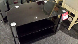 Ex-display 3 tier black glass chrome legs tv stand