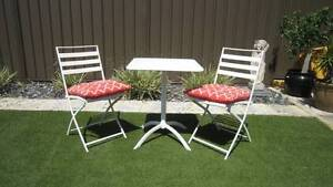 White 3 piece setting, 2 fold up chairs, table and free cushions Woodlands Stirling Area Preview