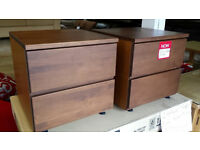 Ex-display pair of light walnut 2 drawer bedside cabinets