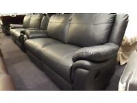 SCS BLACK PREMIUM QUALITY LEATHER 3+3 SEATER MANUAL RECLINERS