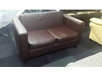Ex-display brown PU leather 2 seater sofa