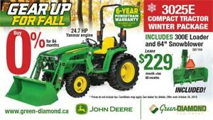NEW 3025E JOHN DEERE TRACTOR W/ LOADER & SNOW BLOWER