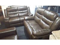 Ex-display SCS 2+2 mocha brown top quality leather recliner sofa set