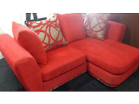 Ex-display red fabric corner sofa left or right + scatter back cushions