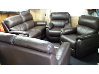 Ex-display quality brown leather 2+2+1+1 seater