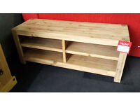 New clearance Wide Solid acacia wood tv stand with 4 storage sections
