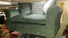 New clearance fabric 2 seater sofa with scatter cushions