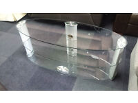 Ex-display clear/grey 3 tier oval tv stand