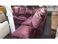NEW CLEARANCE Large purple crushed velvet corner sofa + footstool