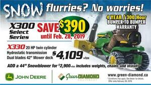 SAVE $390.00 on X300 Select Series John Deere Tractors