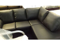 NEW CLEARANCE leather black 3 section corner sofa