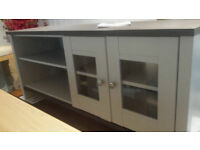 Ex-display light grey & walnut veneer 2 door 1 shelf tv unit