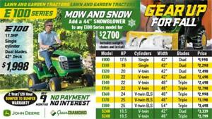 E100 JOHN DEERE LAWN TRACTOR MOW AND SNOW PACKAGE