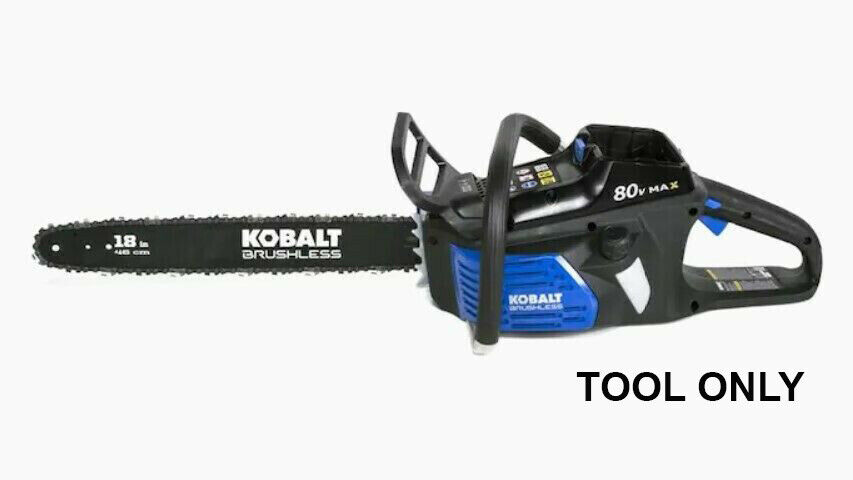 "Kobalt 80 Volt Max 18"" Brushless Chainsaw With Battery & Cha"
