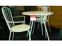 Light grey metal tables & 2 chairs (2 sets)