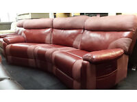 Ex-display SCS red fabric/endurance leather corner sofa electric recliners with USB port