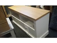 Ex-display wooden oak veneer top/white tv unit 2 drawers