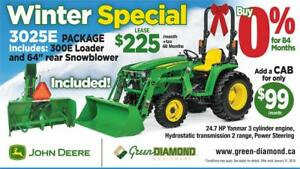 3025E TRACTOR, LOADER, SNOW BLOWER WINTER PACKAGE