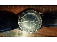Oasis black leather diamanté watch