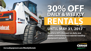 30% OFF Daily & Weekly Equipment Rentals