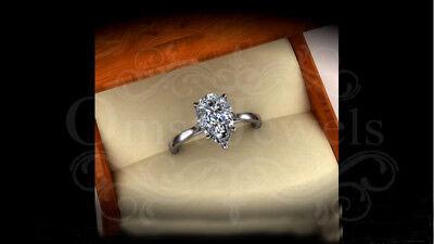 4.60Ct Pear Sparkle Unique Moissanite Attractive Engagement Ring 10K White Gold