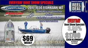 Crestliner 1650 Fish Hawk WT with 60 HP Mercury Outboard