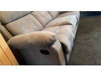 Grey fabric 3 seat sofa recliner