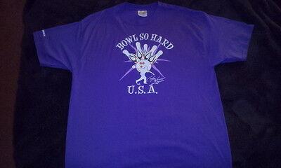 """Bowling T-shirt Danny Wiseman Pba Bowling H Of F """"bowl So Hard"""" Purple"""