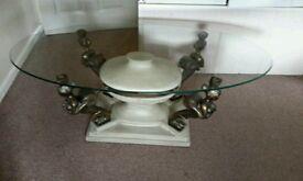 Beautiful oval glass top coffee table