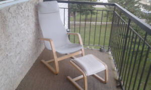 Easy Wooden Lounger, with kick out foot stool.