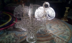 Two crystal lamps one Crystal basket 1 Crystal clock