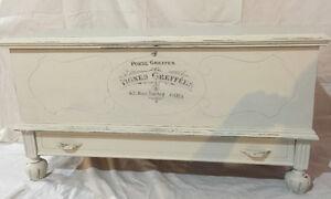 Vintage cedar storage chest trunk table
